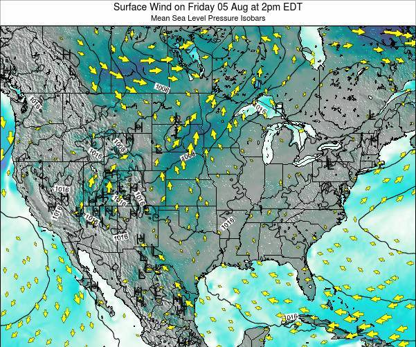United States Surface Wind on Thursday 24 Apr at 2pm EDT