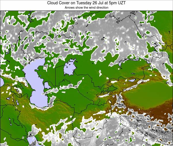 Kazakhstan Cloud Cover on Sunday 26 May at 5pm UZT map