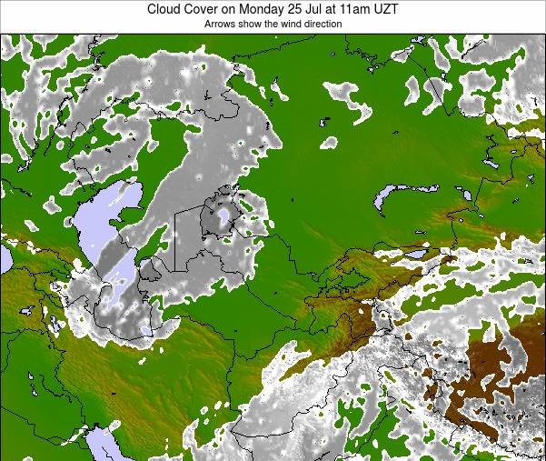 Kazakhstan Cloud Cover on Sunday 26 May at 11pm UZT map
