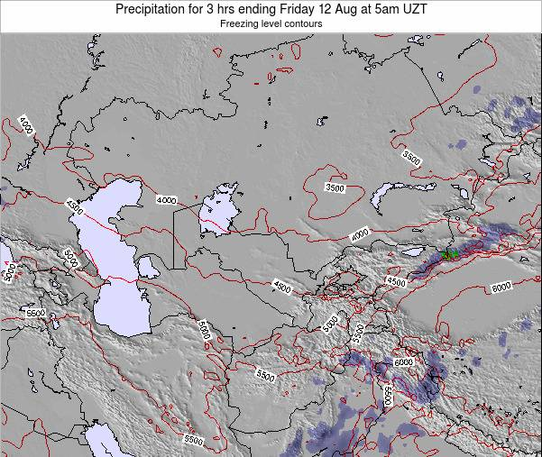 Kazakhstan Precipitation for 3 hrs ending Wednesday 23 Apr at 11pm UZT