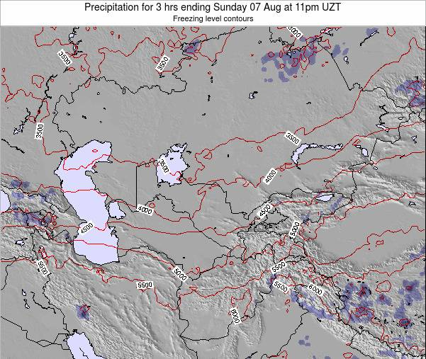 Kazakhstan Precipitation for 3 hrs ending Friday 19 Oct at 5pm UZT map