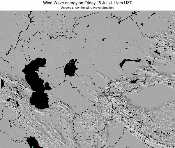 Kazakhstan Wind Wave energy on Tuesday 18 Dec at 11pm UZT map