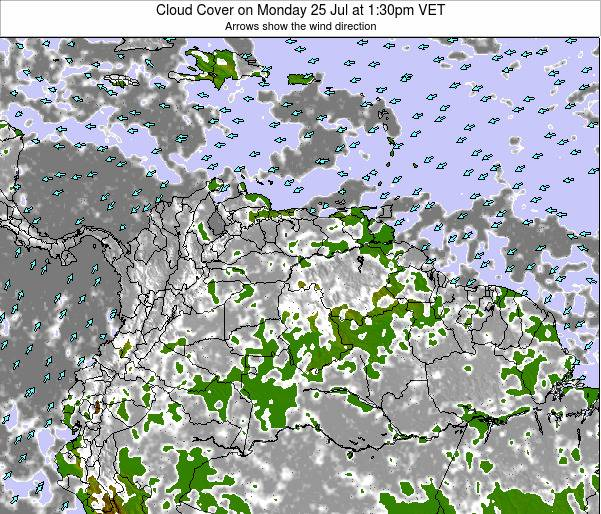 Venezuela Cloud Cover on Sunday 20 Apr at 7:30pm VET