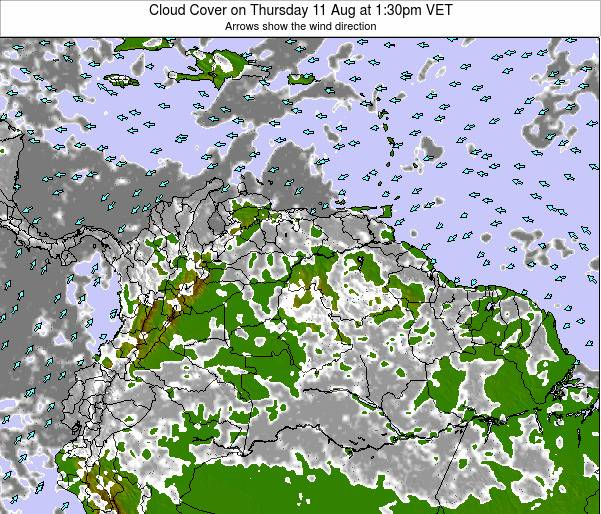 Venezuela Cloud Cover on Wednesday 29 Oct at 1:30am VET