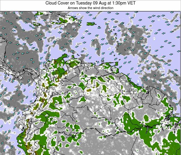 Venezuela Cloud Cover on Tuesday 17 Dec at 1:30am VET