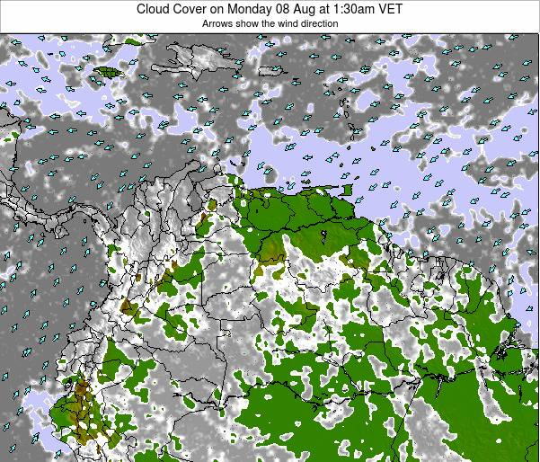 Venezuela Cloud Cover on Thursday 06 Aug at 1:30pm VET