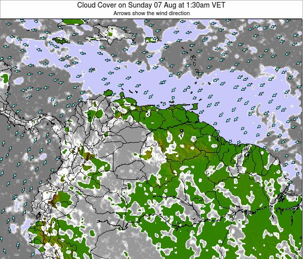 Venezuela Cloud Cover on Friday 24 Feb at 7:30pm VET