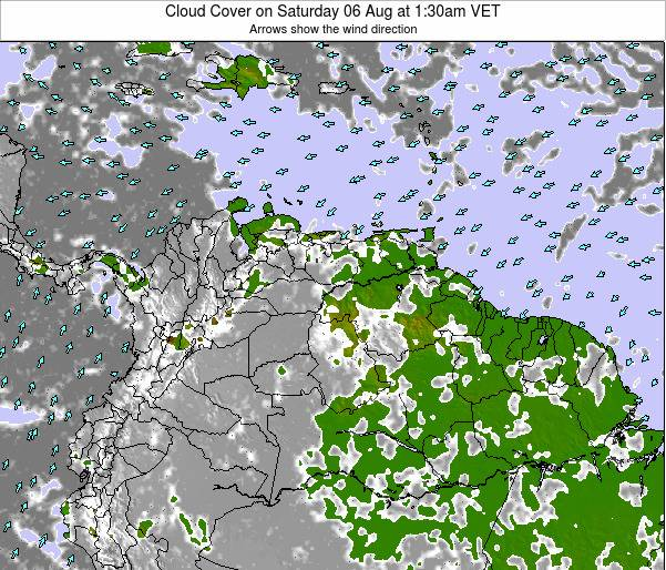 Venezuela Cloud Cover on Saturday 25 Oct at 1:30am VET