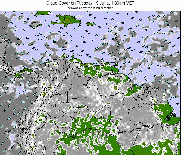 Venezuela Cloud Cover on Thursday 17 Apr at 1:30pm VET