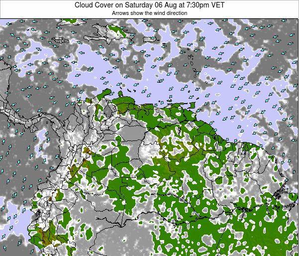 Venezuela Cloud Cover on Tuesday 22 Aug at 7:30am VET
