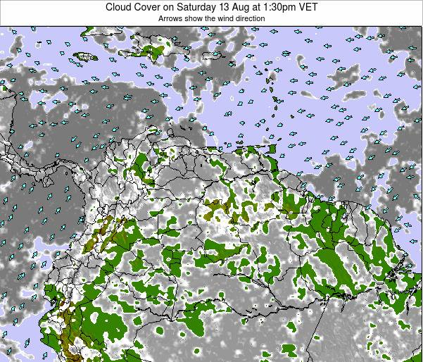Venezuela Cloud Cover on Tuesday 22 Apr at 7:30pm VET