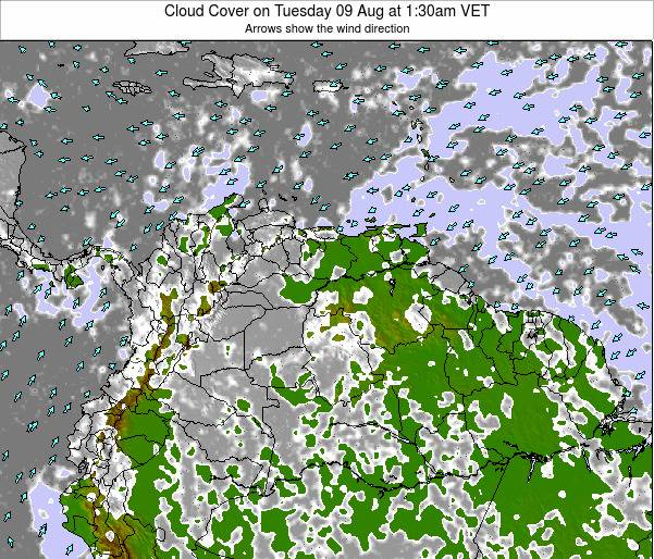 Venezuela Cloud Cover on Tuesday 30 Jan at 7:30am VET map