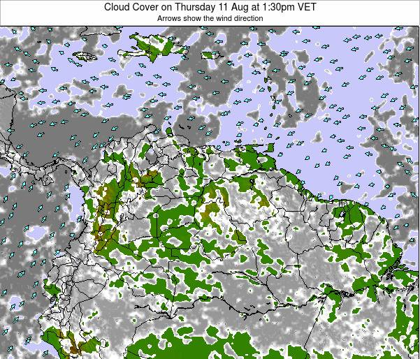 Venezuela Cloud Cover on Wednesday 05 Jul at 1:30pm VET