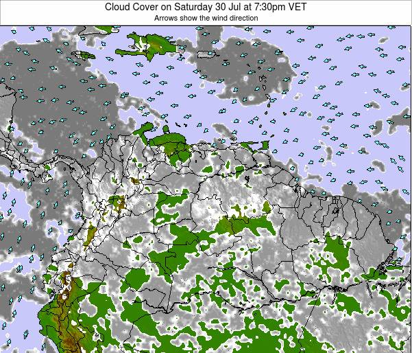 Venezuela Cloud Cover on Tuesday 29 Apr at 7:30pm VET