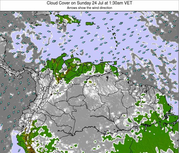 Venezuela Cloud Cover on Sunday 09 Mar at 7:30am VET
