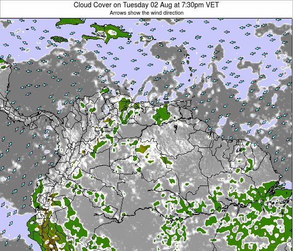 Venezuela Cloud Cover on Monday 10 Mar at 1:30pm VET
