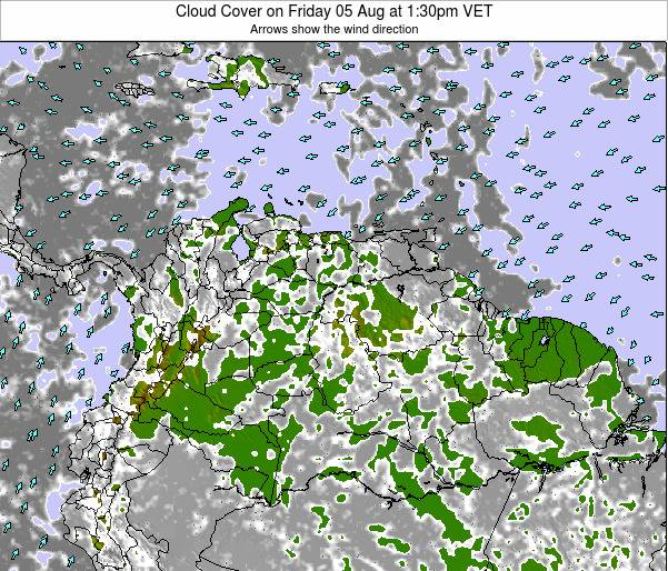 Venezuela Cloud Cover on Thursday 24 Apr at 1:30am VET