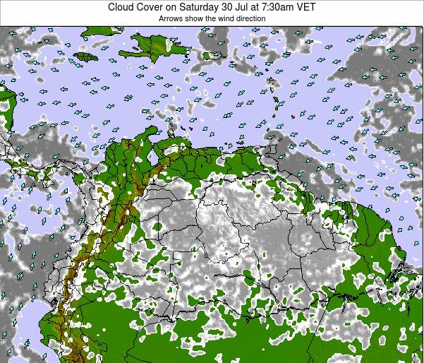 Venezuela Cloud Cover on Saturday 07 Dec at 1:30pm VET