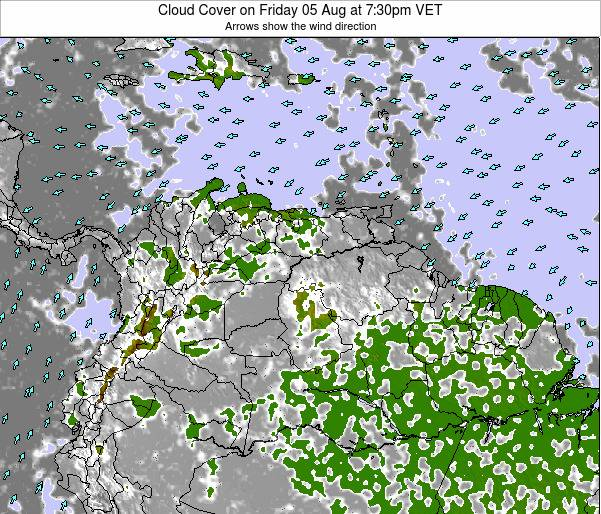 Venezuela Cloud Cover on Saturday 25 May at 7:30pm VET