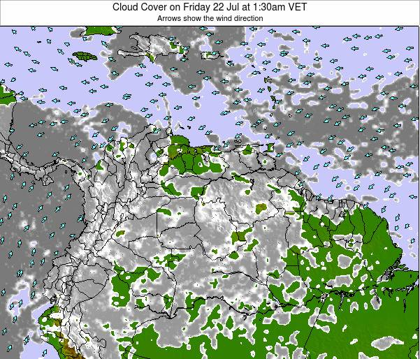 Venezuela Cloud Cover on Thursday 31 Jul at 7:30am VET