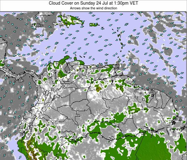 Venezuela Cloud Cover on Monday 23 Jan at 7:30am VET