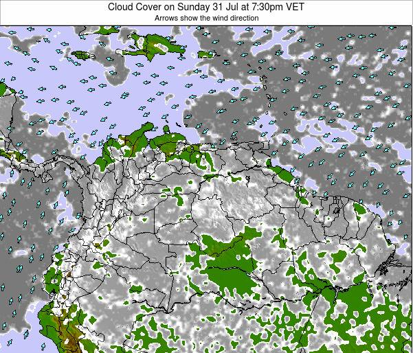 Venezuela Cloud Cover on Wednesday 23 Jul at 1:30pm VET
