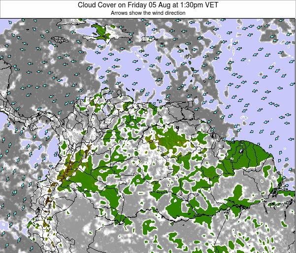 Venezuela Cloud Cover on Wednesday 28 Sep at 7:30am VET