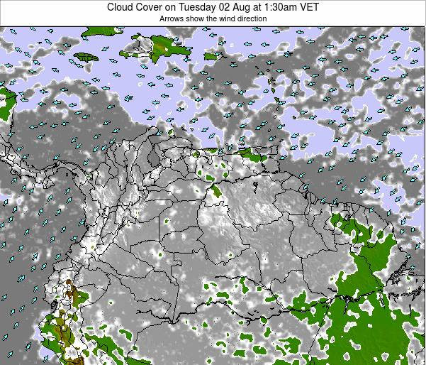Venezuela Cloud Cover on Thursday 24 Aug at 7:30pm VET