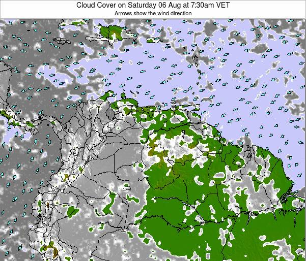 Venezuela Cloud Cover on Sunday 09 Mar at 1:30pm VET