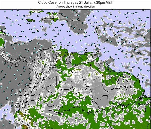 Venezuela Cloud Cover on Wednesday 22 May at 1:30am VET