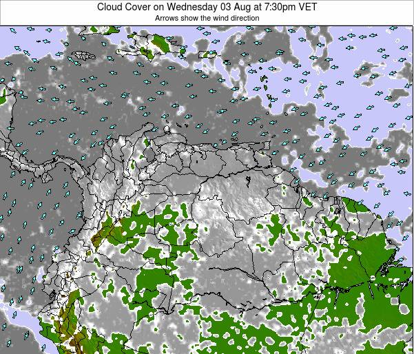 Venezuela Cloud Cover on Sunday 22 Dec at 1:30pm VET