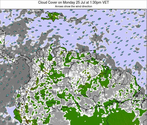 Venezuela Cloud Cover on Sunday 02 Nov at 1:30am VET