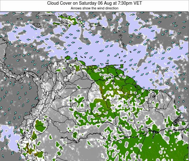 Venezuela Cloud Cover on Friday 18 Apr at 1:30am VET