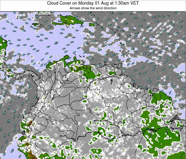 Venezuela Cloud Cover on Tuesday 29 Jul at 1:30pm VET