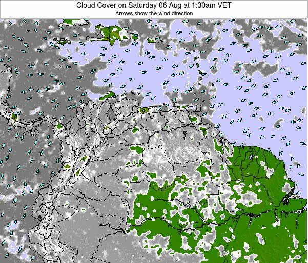 Venezuela Cloud Cover on Sunday 02 Oct at 7:30am VET