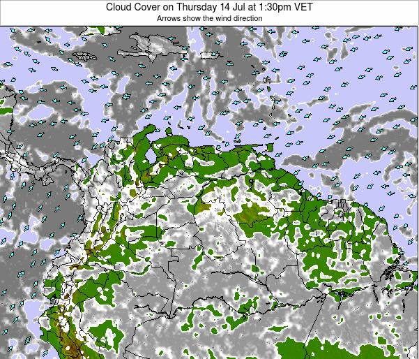 Venezuela Cloud Cover on Friday 20 Oct at 7:30pm VET