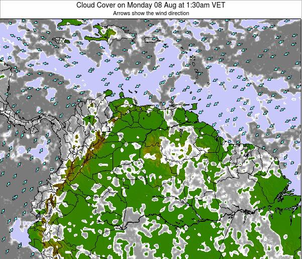 Venezuela Cloud Cover on Sunday 20 Apr at 1:30pm VET
