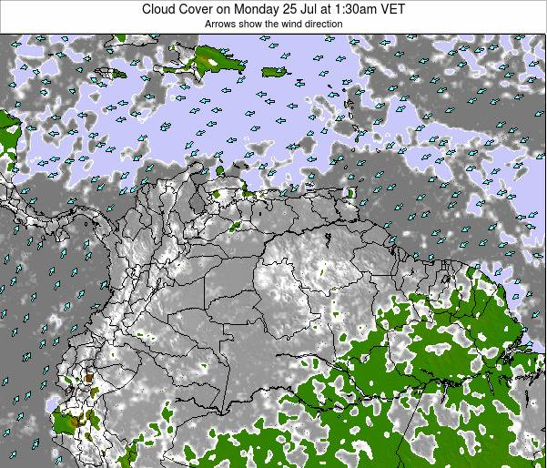 Venezuela Cloud Cover on Saturday 26 Apr at 7:30am VET