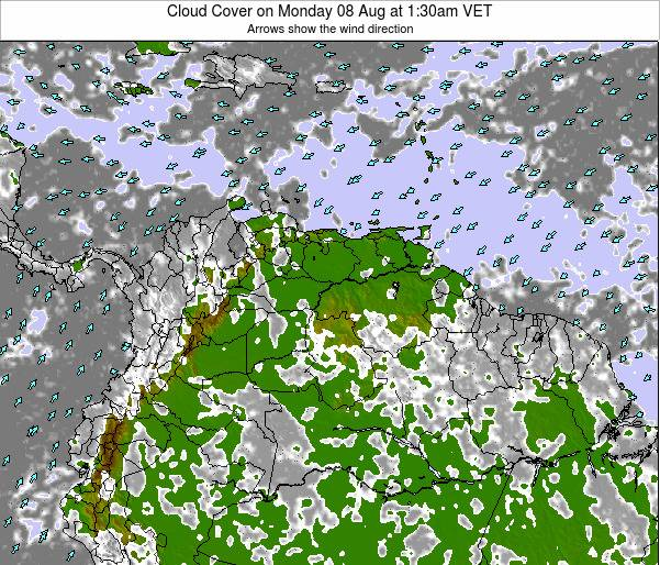 Venezuela Cloud Cover on Sunday 03 Aug at 7:30am VET