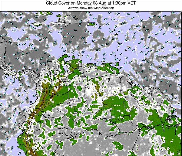 Venezuela Cloud Cover on Thursday 15 Oct at 7:30pm VET