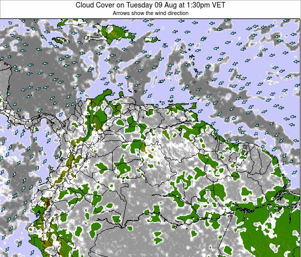 Venezuela Cloud Cover on Tuesday 24 Oct at 7:30pm VET
