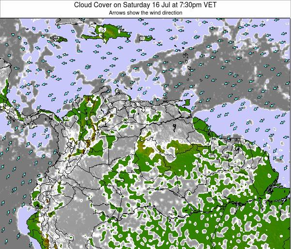 Venezuela Cloud Cover on Saturday 26 Jul at 1:30am VET