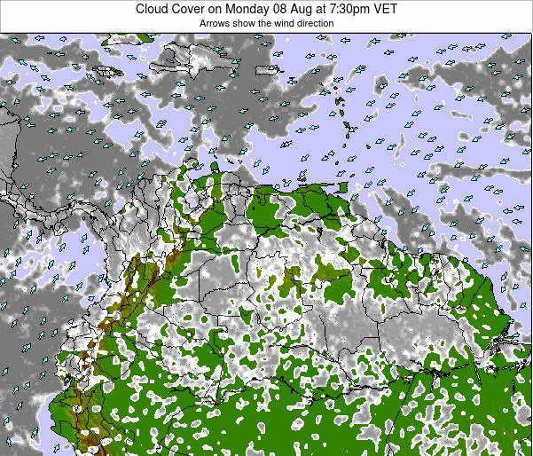 Venezuela Cloud Cover on Friday 14 Mar at 1:30am VET