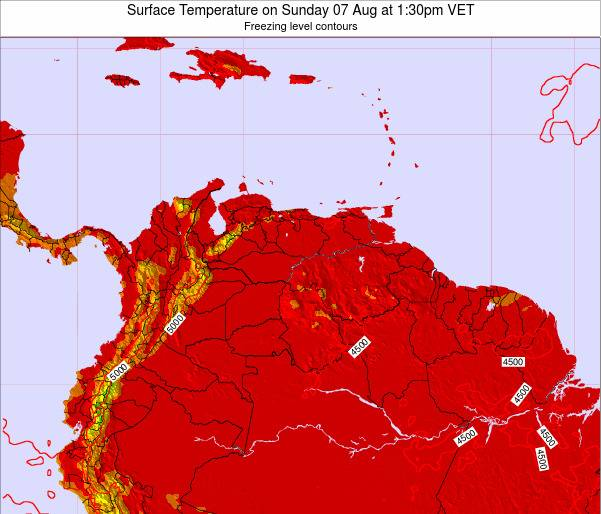 Venezuela Surface Temperature on Wednesday 22 May at 7:30pm VET