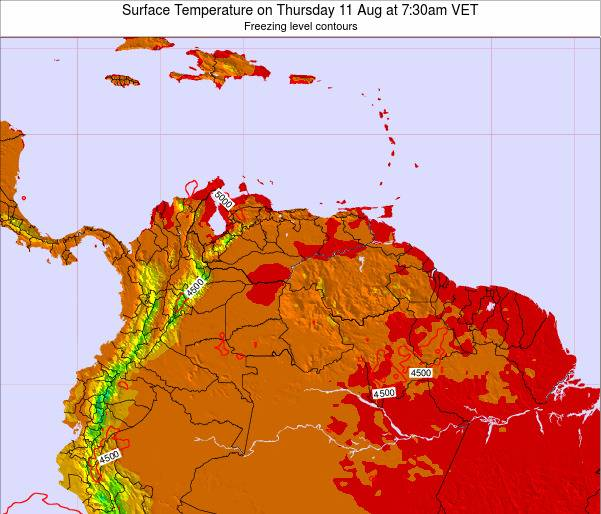 Venezuela Surface Temperature on Monday 24 Jun at 7:30am VET
