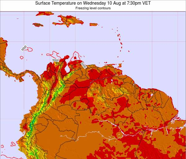 Venezuela Surface Temperature on Sunday 23 Jun at 7:30am VET map