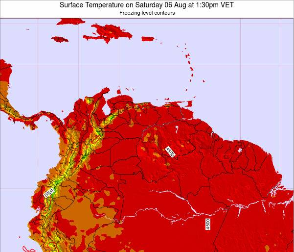 Venezuela Surface Temperature on Monday 27 May at 1:30am VET map
