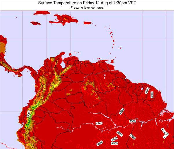 Venezuela Surface Temperature on Tuesday 25 Jun at 7:30pm VET map