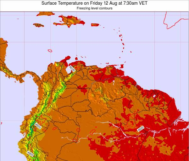 Venezuela Surface Temperature on Saturday 25 May at 7:30am VET