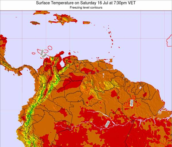 Venezuela Surface Temperature on Sunday 19 May at 7:30am VET
